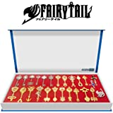 Fairy Tail, econoLED Rulercosplay Fairy Tail Lucy New Collection Set of 25 Golden Zodiac Keys + Play Key Chain