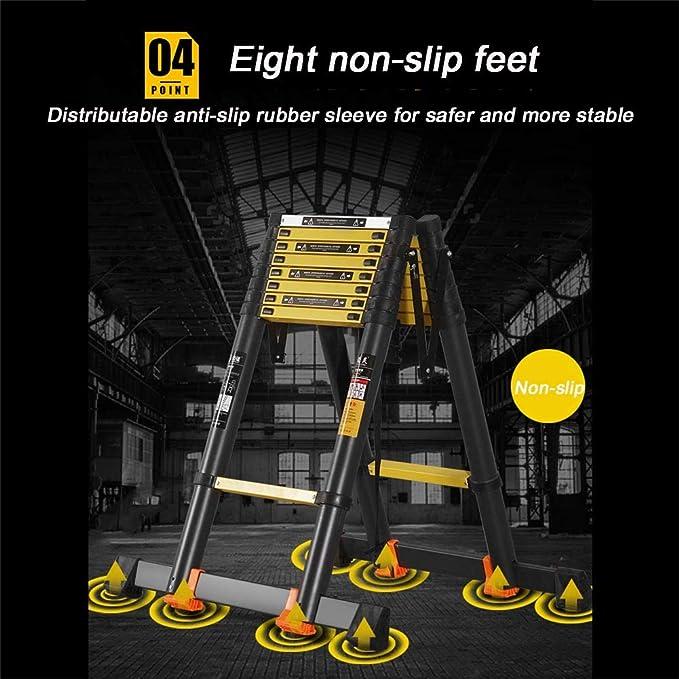 Escalera telescópica, escalera extensible, 3,4 m, EN 131, carga máxima: 150 kg, distancia entre las escaleras (escalera despleta): 30 cm.: Amazon.es: Bricolaje y herramientas