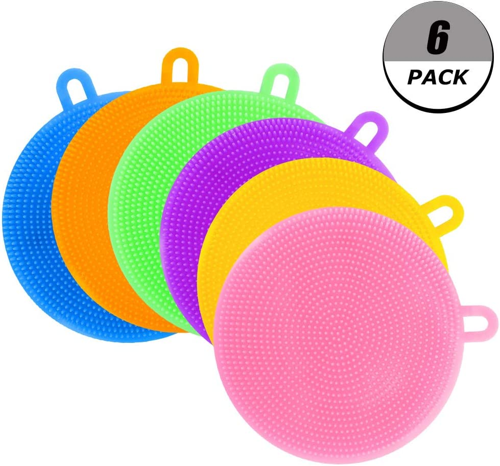 evebel Silicone Dish Sponges - 6 Pack Colorful Cleaning Sponges for Dish Washing, Silicone Dish Scrubber for Cleaning, Dishwasher Safe and Dry Fast