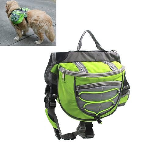 Xiaoyu mochila para perro, portabolsas ajustable, portabolsas de silla de montar, para el camping de excursionismo de viaje, verde, L