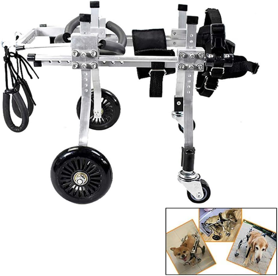 AMITD - Silla de ruedas para perros, 5 – 12 kg, aleación de aluminio, silla de ruedas para adultos, gatos, 4 ruedas, patas traseras ajustables, para rehabilitación de mascotas