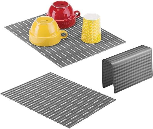 Trasparente Tappetino lavandino e protezione per divisorio in silicone robusto Tre accessori cucina anti-graffio per doppio lavandino mDesign Set da 3 Tappetini per lavello cucina