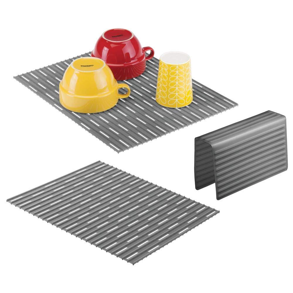 mDesign Set da 3 Tappetini per lavello cucina – Tre accessori cucina anti-graffio per doppio lavandino – Tappetino lavandino e protezione per divisorio in silicone robusto – Grigio ardesia MetroDecor