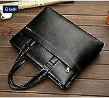 New Business Office Leather Briefcase Bag Handbag 14'' Laptop Shoulder Messenger Bag for Men, Black and Blown, With Free Gift Wallet (Black)