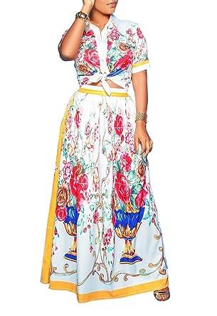 82d1eb414761 Ophestin Women Floral Print Short Sleeve Shirt Crop Top Skirts Set 2 Piece Long  Maxi Dress Outfits at Amazon Women's Clothing store: