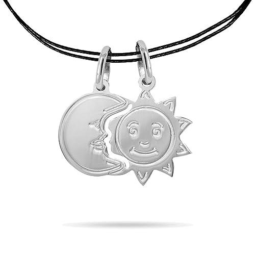sito affidabile 90a8b 65494 inSCINTILLE Dolci metà Collana con Ciondolo divisibile Sole Luna in Argento  rodiato