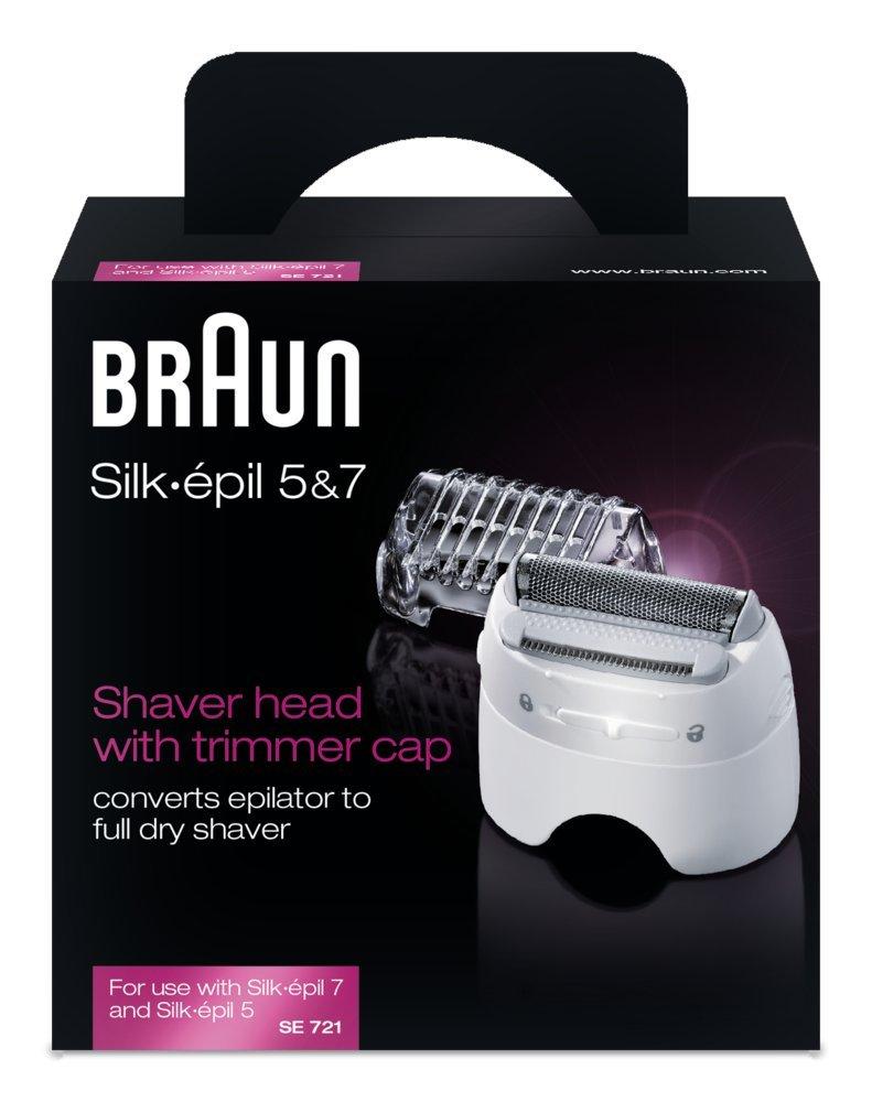 Braun Silk-É pil SE721 Testina del Rasoio con Cappuccio Regolatore per Epilatori Silk-É pil 7 e 5 4210201087281 depilazione; rasatura femminile; ricambio silk epil