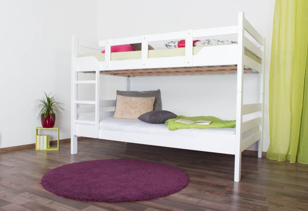 Etagenbett für Erwachsene Easy Premium Line  K16 n, Kopf- und Fußteil gerade, Buche Vollholz massiv Weißszlig; lackiert - Liegefläche  140 x 190 cm, teilbar