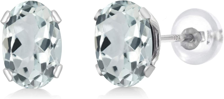 Gem Stone King 10K White Gold Sky Blue Aquamarine Stud Earrings For Women 1.00 Ct Gemstone Birthstone Oval 6X4MM 61cNoDxPrKL