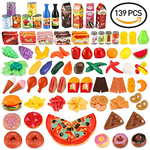 Make Food Fake (UNEEDE Play Food Set Kids Play Kitchen Food Toy Pretend Toddler Kid Play Food 139 pcs Large Fake Plastic Food Toy Set Toy Kitchen Food Outdoor Plat Fast Food Item Accessories Safe for Kid, Toddler)