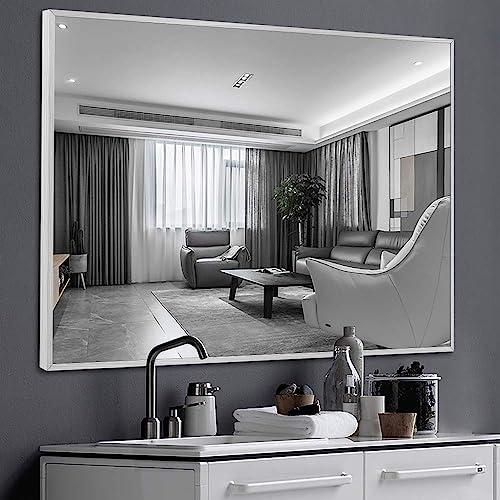 NeuType Wall-Mounted Mirror Rectangular Hanging Mirror Metal Framed Wall Mirror