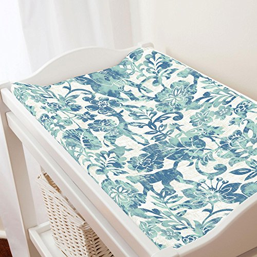 Carousel Designs Denim and Mint Jungle Changing Pad Cover - Organic 100% Cotton Change Pad Cover - Made in the USA Jungle Denim