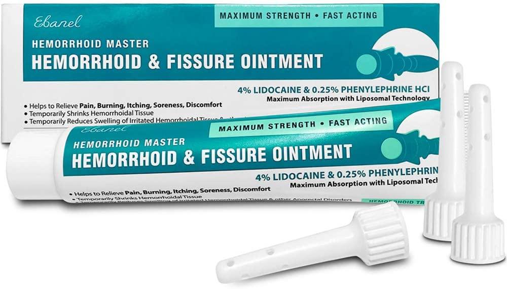 Ebanel Hemorrhoid Treatment Ointment, 1.6 Oz Lidocaine Anal Fissure Anesthetic Cream for Pain, Burning, Itching, Swelling, Bleeding with Phenylephrine, Hydrocortisone, Aloe, Chamomile, Vitamins
