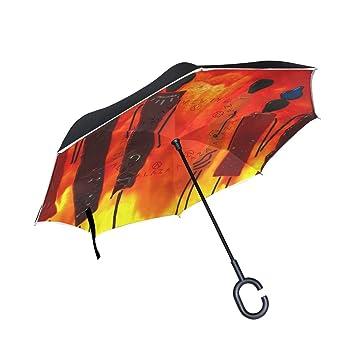 BENNIGIRY - Paraguas Reversible Plegable de Doble Capa para niña Africana, protección contra el Viento