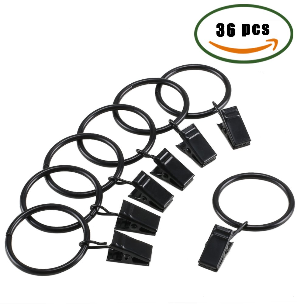 Curtain Clip Rings, Innker 1.5Interior Diameter Curtain Rings with Clip, Black Electroplate Surface Metal Drapery Clip Rings Set of