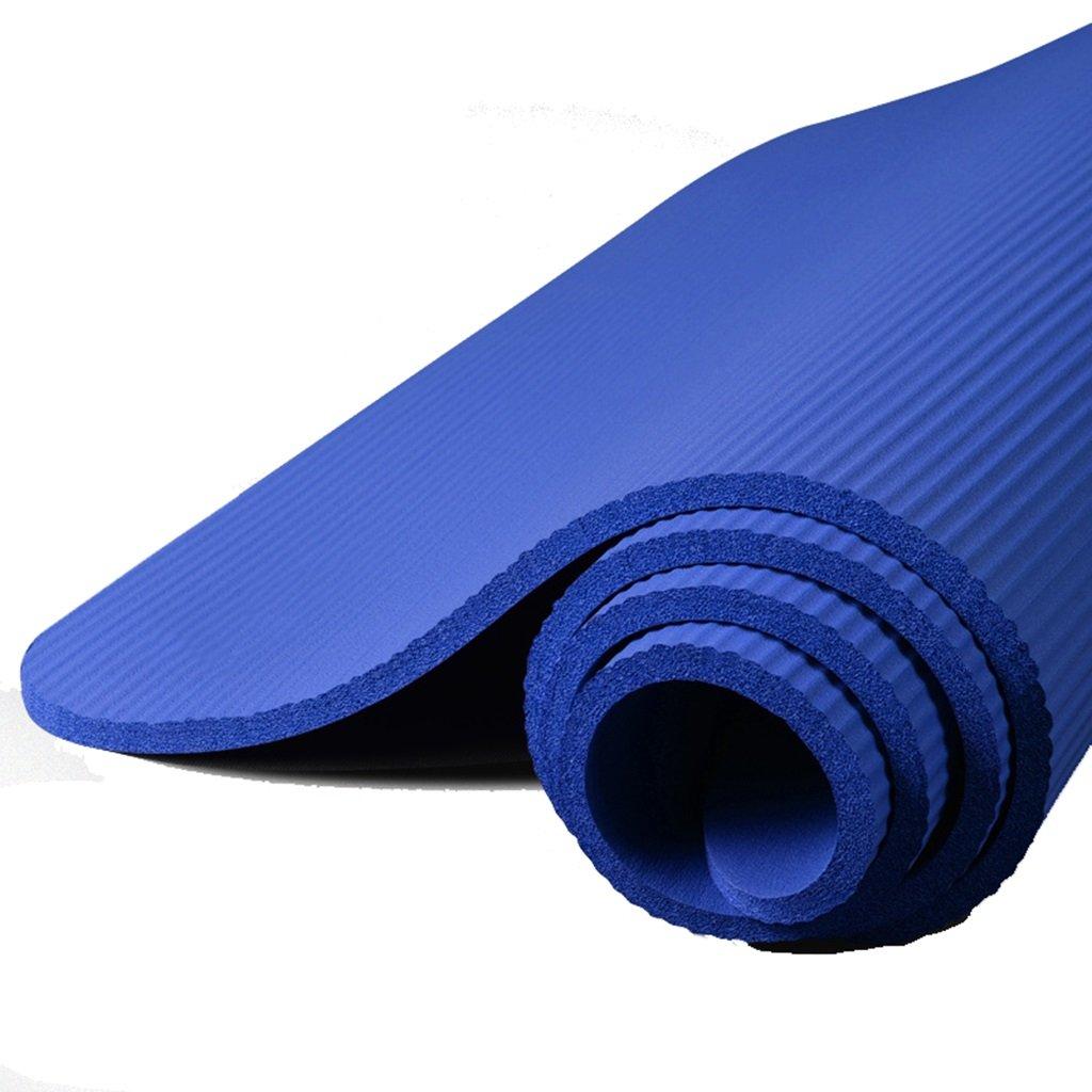 Yogamatte, NBR-Material, 10mm / 15mm Starke Anti-Rutsch-Pilates & Gymnastikmatte (185cmx80cm) (Farbe : Blau, größe : 15mm)