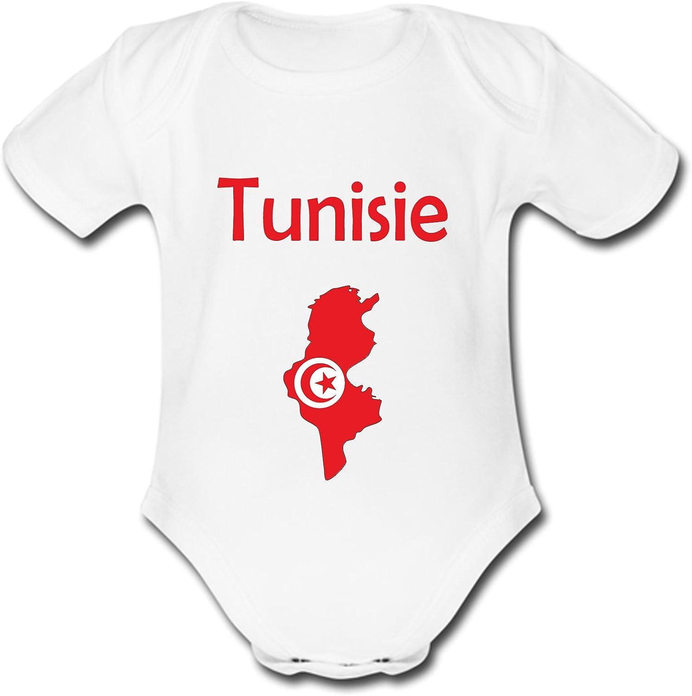 yonacrea Body B/éb/é Manches Courtes Carte Tunisie avec Son Drapeau