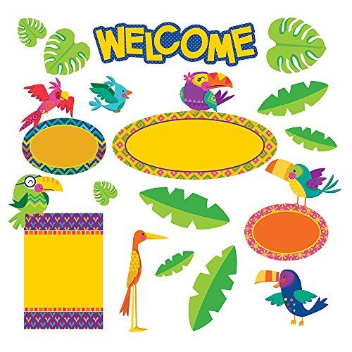 Eureka Back to School 'You Can Tucan' Tropical Birds Welcome Bulletin Board and Classroom Decorations, 21pc, 17'' W x 24'' H (You Toucan Can)