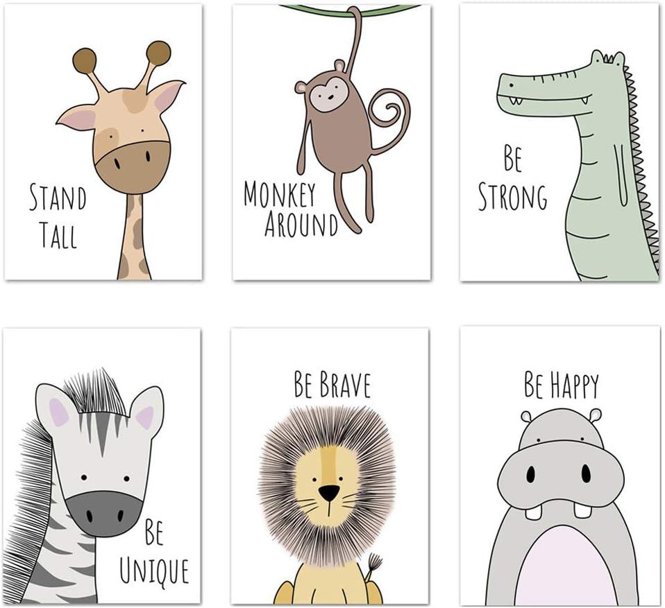 Juego de 6 imágenes para habitación de bebé, tamaño DIN A4, sin marco, para habitación de los niños, decoración infantil, diseño de animales del bosque