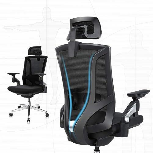 Ergonomic Office Desk Chair High Back Mesh Desk Chair with 4D Adjustable Arm Rests Computer Chair Height Adjustable and Head Support 3 Adjustable Tilt Tension – Black