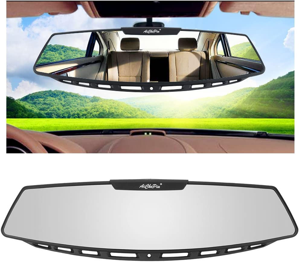 HOUTBY Car Rearview Mirrors Auto Clip On Rear View Mirror Wide Angle Lens Convex Driving Safety Universal