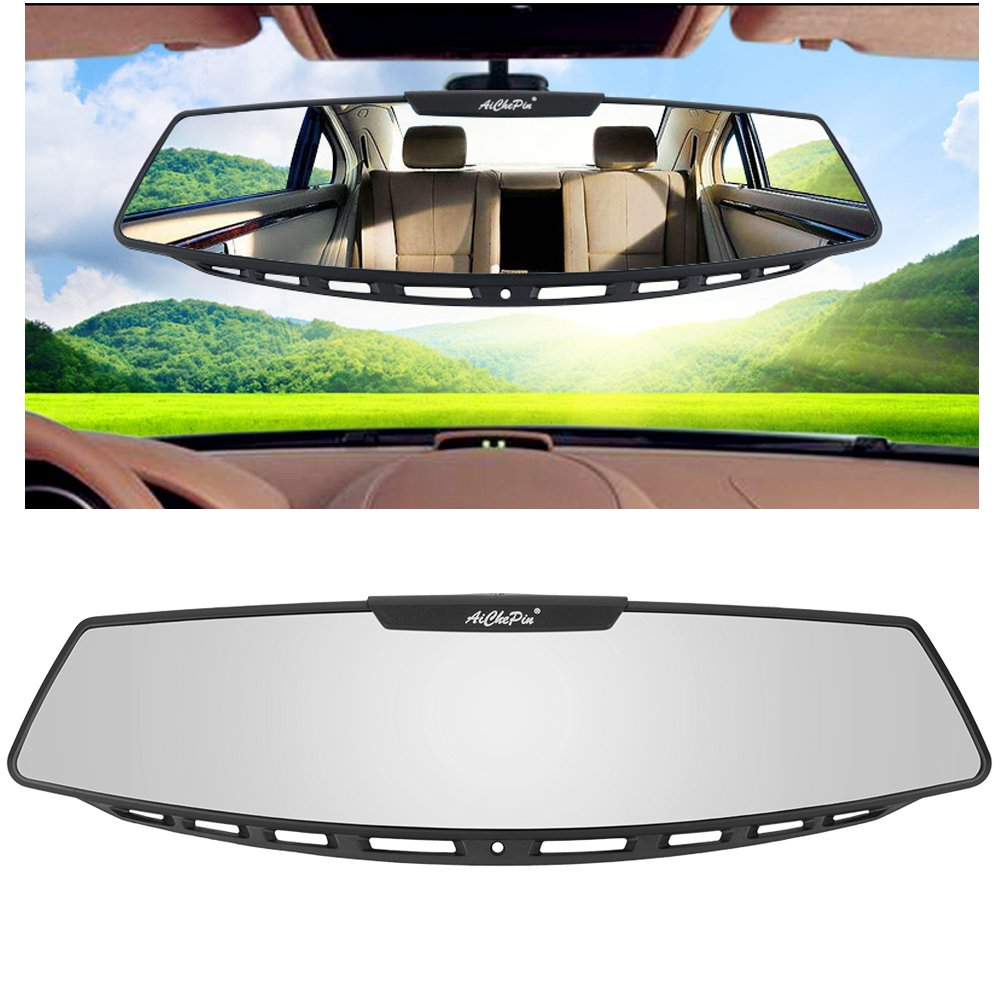 Yoolight Car Rear View Mirror, 12'' Wide Angle Universal Curve Convex Rearview Mirror Interior Clip On Original Mirror (White Mirror)