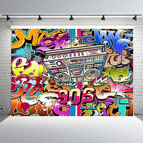 Nextunit 7x5ft 90th Graffiti Photography Backdrop Vinyl Hip Hop Photo Studio Background Photographic Party Decorations by Nextunit