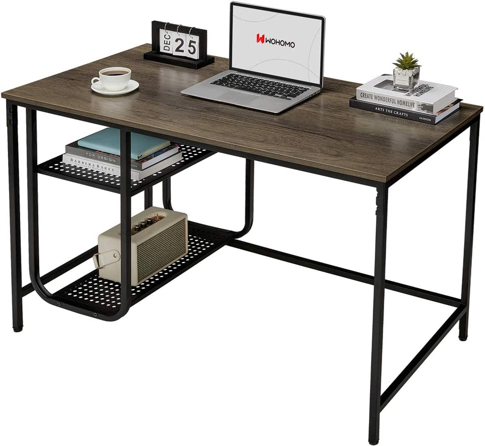 WOHOMO 47 Inch Computer Desk with Shelves Small Study Writing Table with Bookshelves Easy Assembly Home Office Desk, Walnut