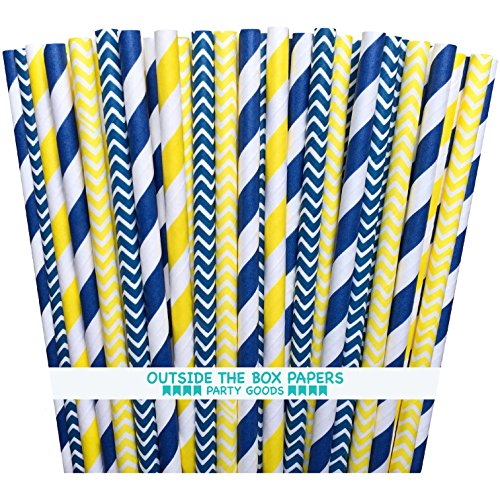 Outside the Box Papers Yellow and Navy Blue Chevron and Stripe Paper Straws 7.75 Inches- 100 Navy Blue, Yellow]()