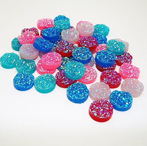 BeadsTreasure 50pcs- Mix Colors Druzy Resin Cabochons, Flat Round, Sparkly (Cabochons Mix)
