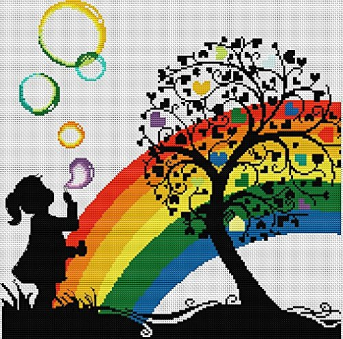 Sunverio Embroidery Kit DIY Stamped Cross Stitch Pattern Home Decoration, Rainbow Bubble Girl