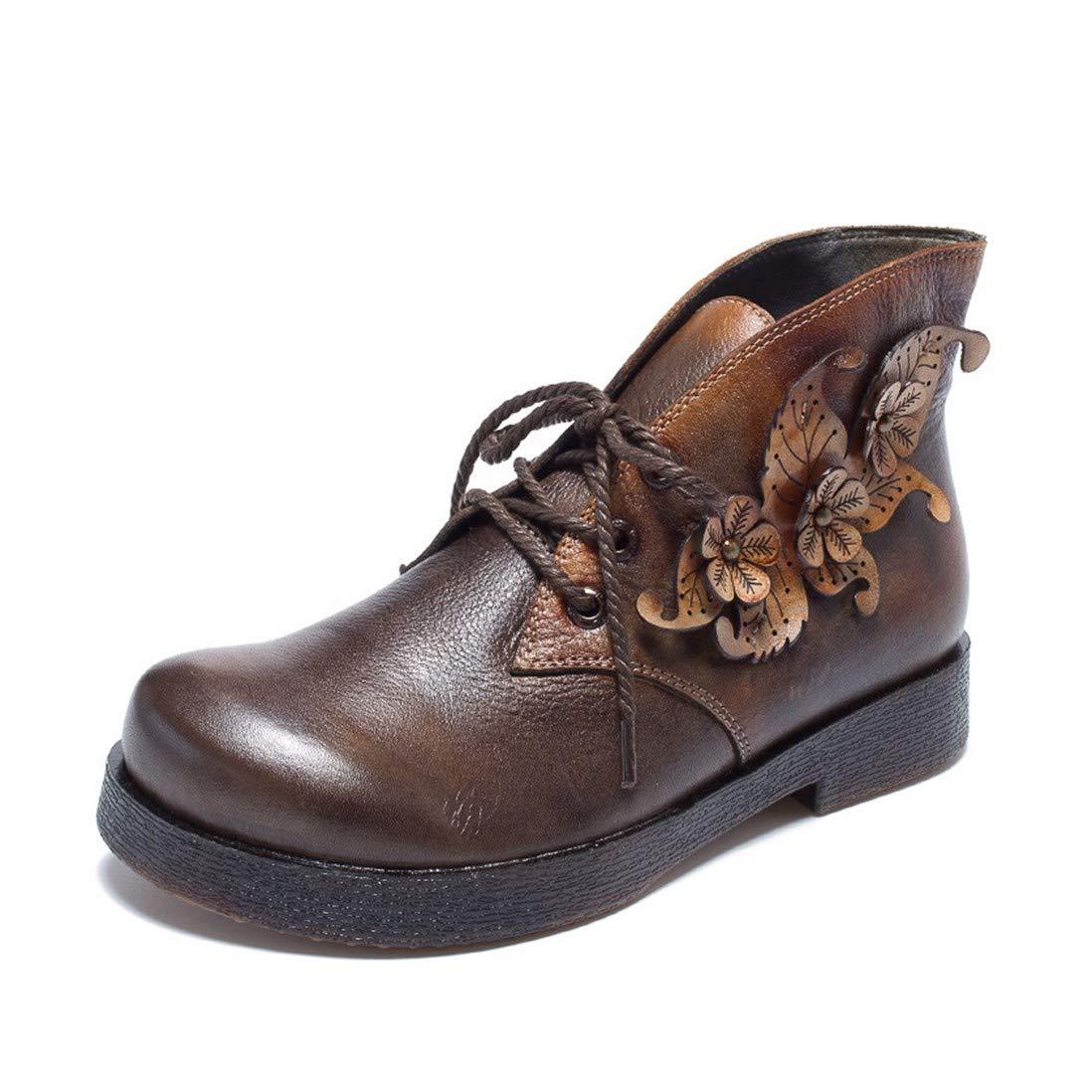 BeatinToes Retro Schuhe Leder Handarbeit Short Martin Stiefel Flachen Boden Wasserdicht Plattform Frauen Schuhe
