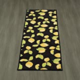 Ottomanson Lemon Collection Contemporary Black Lemons Design Runner Rug with (Non-Slip) Kitchen and Bathroom rugs, Black, 20'' X 59''