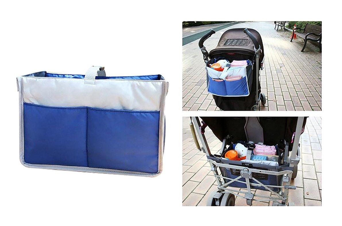 OurKosms® de múltiples funciones de nylon del cochecito de bebé del cochecito de niño Cochecito almacenaje colgante del bolso / la bolsa de pañales Insertar Cochecito organizador / del recorrido del bolso ordenado (Azul)