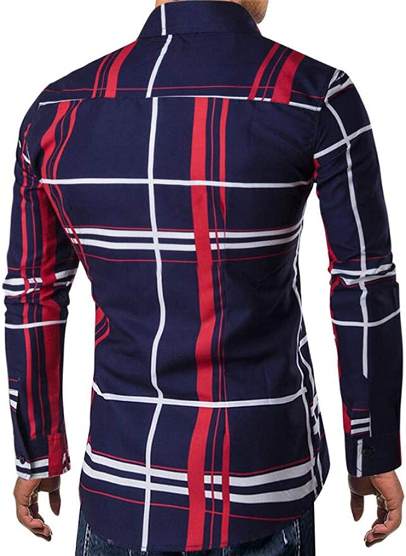 XiaoTianXinMen XTX Mens Fashion Formal Long Sleeve Plaid Check Button Down Dress Shirts