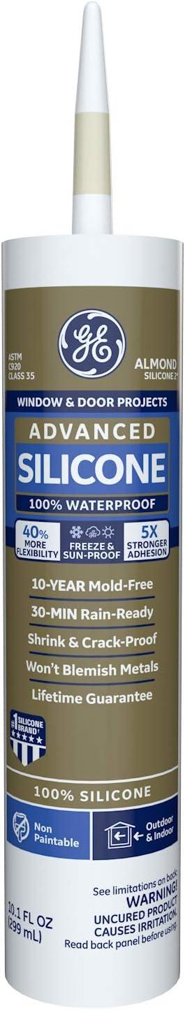 GE Sealants & Adhesives GE5096 Advanced Silicone 2 Window & Door Sealant, 10.1oz, Almond
