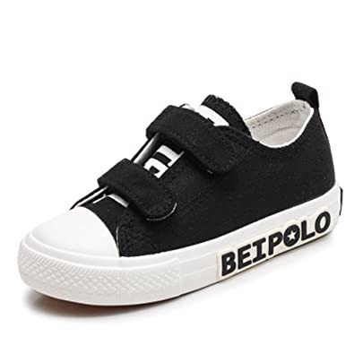 19cf987a09f302 Boys Girls Breathable Canvas Athletic Tennis Sneakers Lace Up Sport Running  Shoes Kid(Black