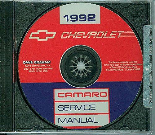 1992 CHEVROLET CAMARO FACTORY REPAIR SHOP & SERVICE MANUAL Standard Camaro Coupe RS Convertible IROC-Z