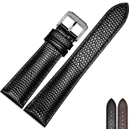 MSTRE NP19 20mm/22mm Unisex Calfskin Leather Watch Band Suitable For Movado/Tudor/Patek philippe Watches (20mm, Black) -  LT-NP19-Black-20