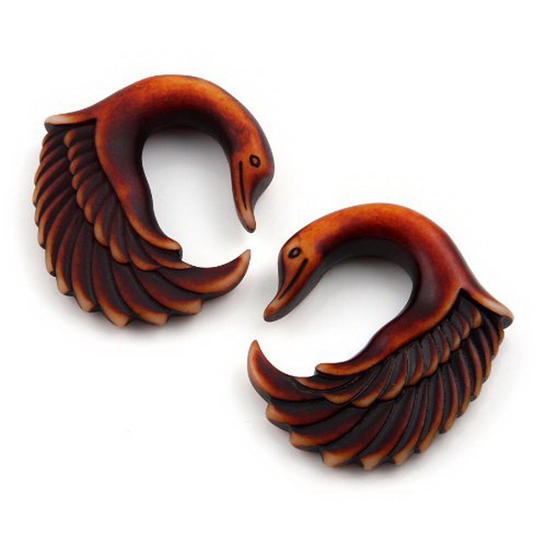 2G-6mm Pair Acrylic Brown Wood Look Swan Wing Bird Design Ear Hook Taper Plugs Gauges