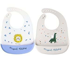 Xdemeno Silicone Baby Bibs Easily Wipe Clean - Comfortable Soft Waterproof Bib Keeps Stains Off, Food Grade BPA Free, 2pcs (Lion + Dinosaur)