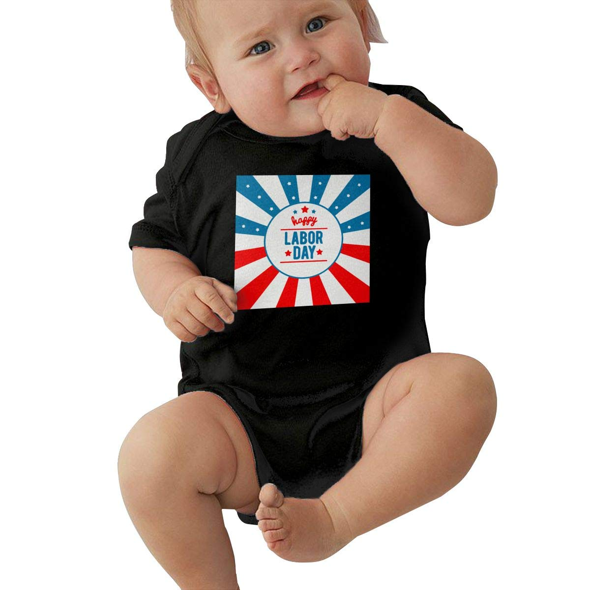 Q98BABY Infant Baby Boys Girls Short Sleeve Baby Clothes Celebrate Labor Day Funny Round Neck Baby Clothes