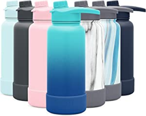 Simple Modern 32 Ounce Summit Water Bottle with Chug Lid & Protective Boot - Hydro Vacuum Insulated Flask 18/8 Stainless Ombre: Pacific Dream