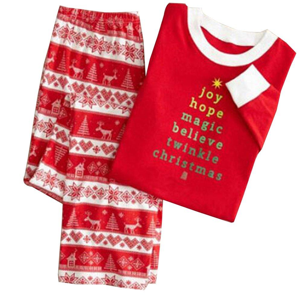 XFentech Christmas Sleepwear printing Outfits Pajamas Clothes T-Shirt Pants Set