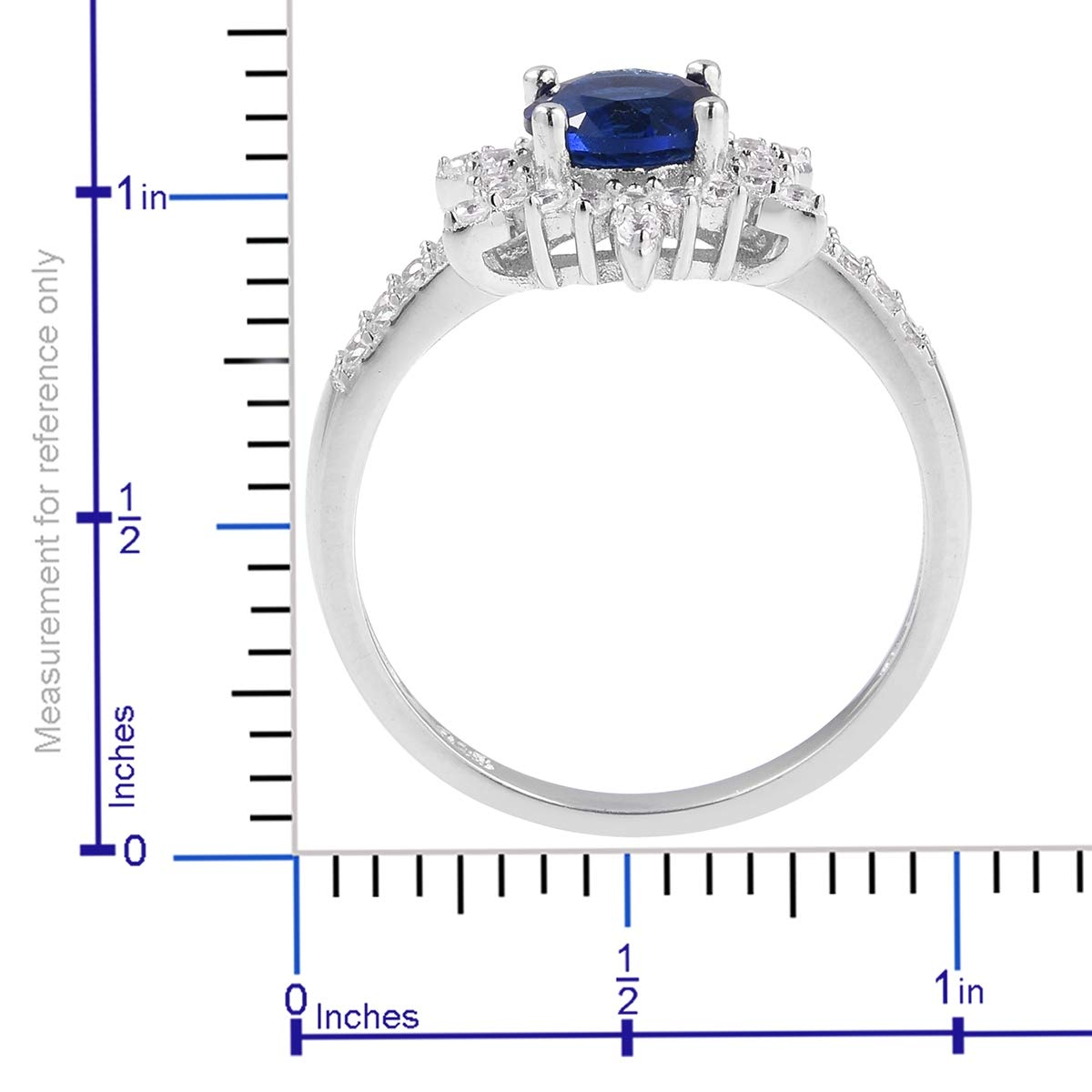 Statement Ring 925 Sterling Silver Round White Cubic Zirconia CZ Jewelry for Women Ct 0.7