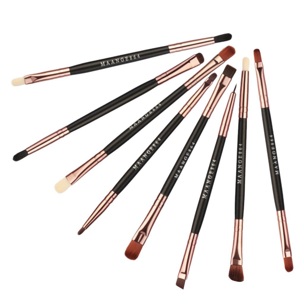 D DOLITY Lot de 8pcs Pinceau de Maquillage de Double Extrémité en Fibre Brosse à Lèvres Yeux Durable pour Beauté