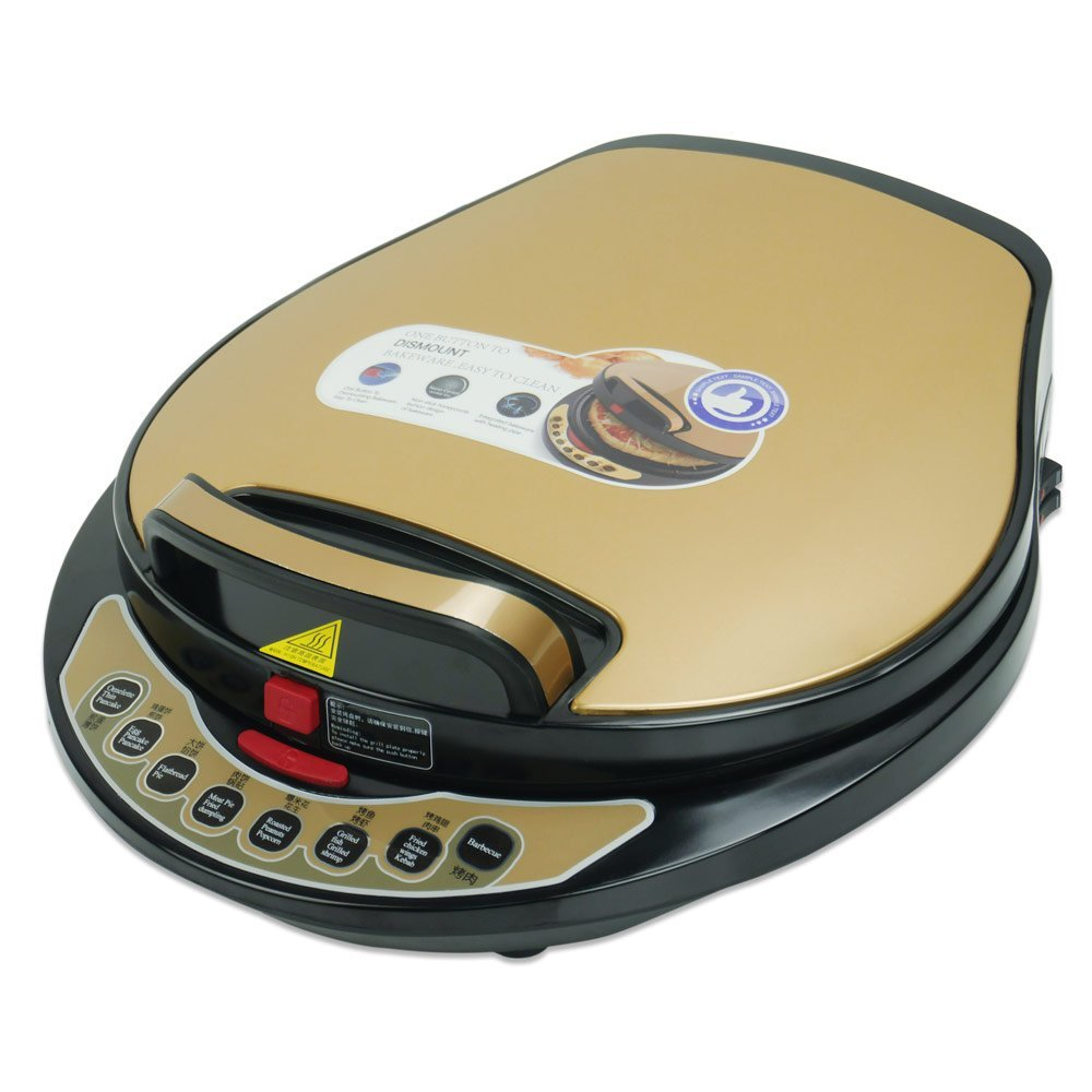 Liven A434 Foldaway detachable 180 degrees Electric Griddle Skillet, Washable Double Baking Pan Non-stick, 1300W, Black and Gold COMIN16JU034585