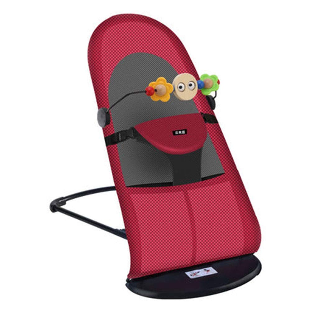 YongFeng Baby Rocking Chair Cradle, Baby Sleepy Artifact ( Color : Red )