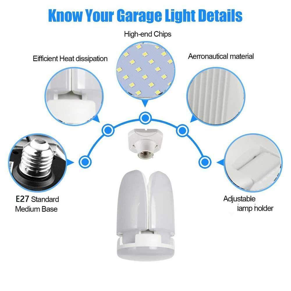 Ampoules LED Super Brillantes de 50W pour Atelier Grange Cave en sous-Sol 6500K Womdee Lampe de Garage /à LED entrep/ôt Plafonnier d/éformable avec 4 Panneaux Ajustables