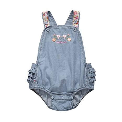 brightup Baby Body de Pelele sin espalda bordado flores tela vaquera para niña azul A Talla